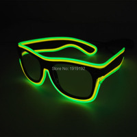 Double Color El Glasses El Wire Fashion Neon LED Light Up Shutter Shaped Glasses Rave Costume