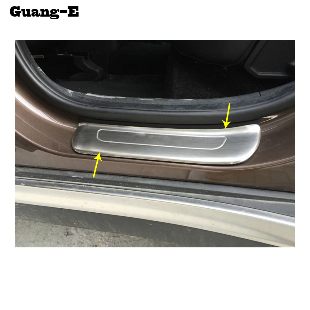 Car styling cover stainless steel pedal door sill scuff - Exterior door threshold replacement parts ...