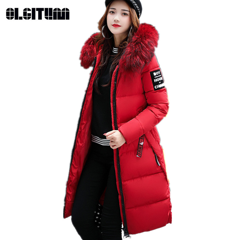 Long Winter's Jacket Coat Slim Thick Women's Warmer   Parkas   Large Size M-4XL Girls Cotton Jacket Solid   Parka   CC698