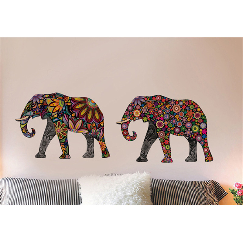 Aliexpresscom Buy Elephant Flower pattern Wall Sticker
