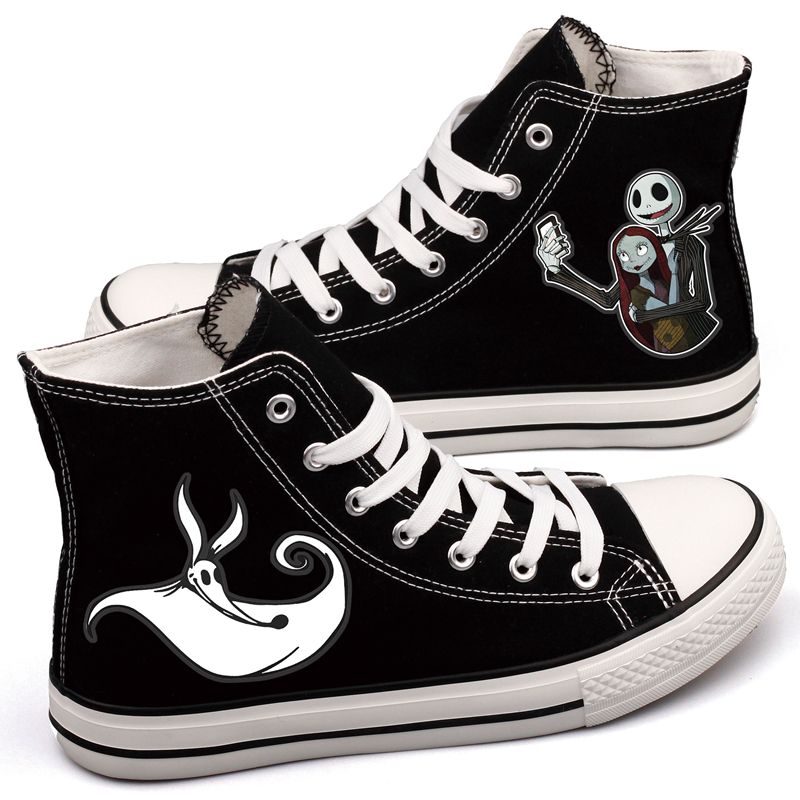 Personality Halloween Gift Couple Lovers Canvas Shoes Custom Print Horror Monster Halloween Party Casual Shoes Sapatos Masculino