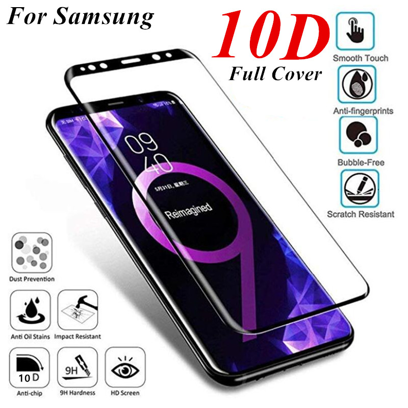 10D Full Cowl Display Protector Tempered Glass For Samsung Galaxy S7 S8 S9 Plus Glass For Word eight Word 9 A6 A8 Tempered Glass