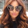 Winla Высокое Качество Женщины Cat Eye Солнцезащитные Очки Мода Стиль Отражающее Зеркало Солнцезащитные Очки Металлический Каркас Очки Óculos Де Золь UV400