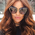 Winla High Quality Women Cat Eye Sunglasses Fashion Style Reflective Mirror Sunglasses Metal Frame Glasses Oculos De Sol UV400
