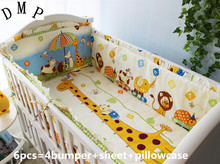 Promotion! 6PCS baby bedding sets, sweet cute cartoon pattern baby bedding .baby bumper ,include(bumper+sheet+pillow cover)
