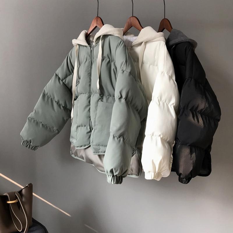 2018 Hiver Chaud À Court Parkas Femme Coréenne Harajuku Femmes Plus Épais Lâche Parka Veste Manteau Filles En Plein Air Outwear