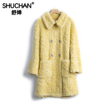 Shuchan Wool Blend Womens Jackets and Coats Wide-waisted 2019 Winter Warm Turn-down Collar Solid Korean Real wool Women