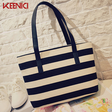 KEENICI Women Beach Canvas Bag Fashion Color Stripes Printing Handbags Ladies Large Shoulder Bag Totes Casual