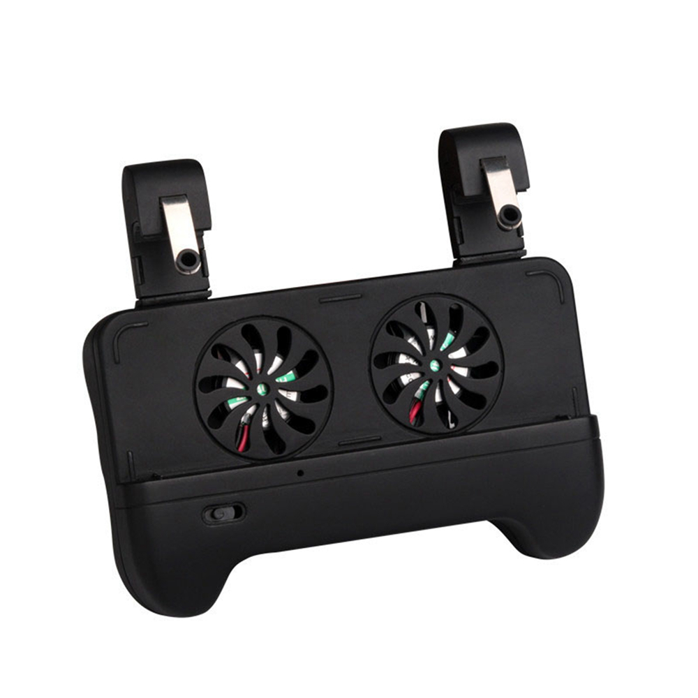 L1R1 Game Shooter Fire Button Trigger Gamepad Handle Holder for PUBG 4.7~5.5'' Mobile Phone Gaming Grip Handle w/ Cooling Fan
