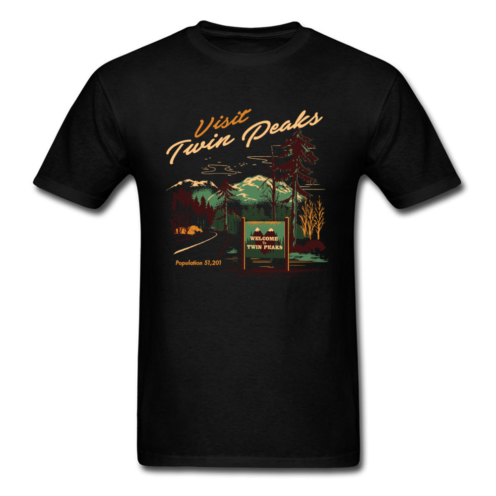 Small Town Travel T-shirt Men Twin Peaks T Shirt Black Tee 100% Cotton Tops Cartoon Clothing Hipster Leisure Tshirts image