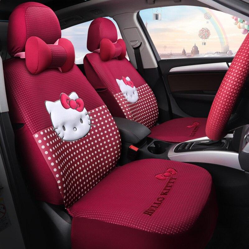 cartoon hello kitty pink automobiles seat covers cotton four season women auto covers cushion set car