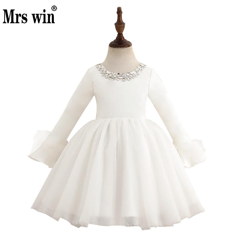 Flower Girl Dresses 2018 New Mrs Win Elegant Crystal O-neck Long Sleeve Luxury Ball Gown Dress For Girls Vestidos De Daminha X