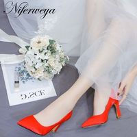 Fashion Spring/autumn China red silk women wedding shoes Big size 34 43 Pointed Toe Slip On Shallow high heels zapatos mujer