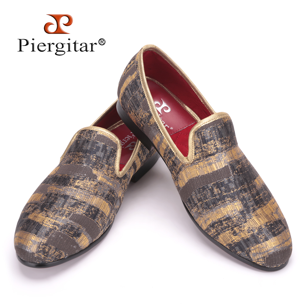 Piergitar 2016 New Two Color Painting style Men Smoking Slipper Men Fashion Plus Size Prom Loafers Men Casual Flats Size US 4-17 men denim shoes piergitar new fashion star men loafers navy blue plus size men s flats size us 4 17 free shipping