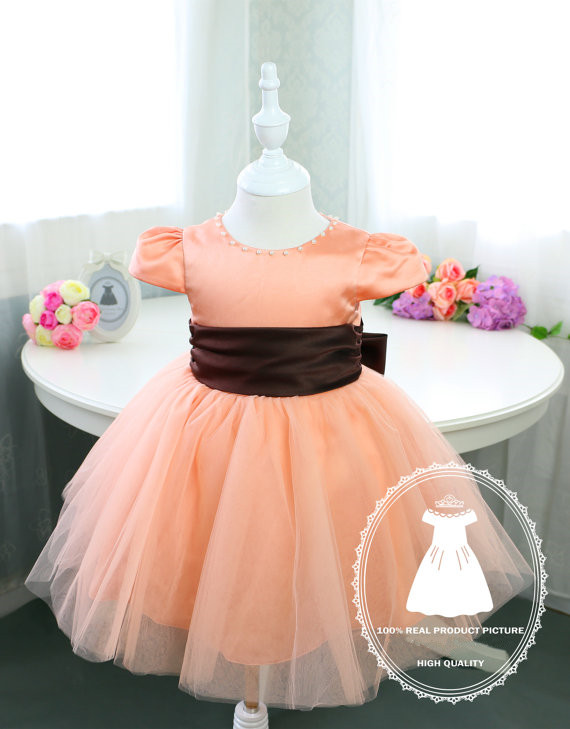 ФОТО 2017 cute blush pink baby girl dress with brown bow cap sleeve tulle ball gown toddler pageant dress 1st birthday party outfits