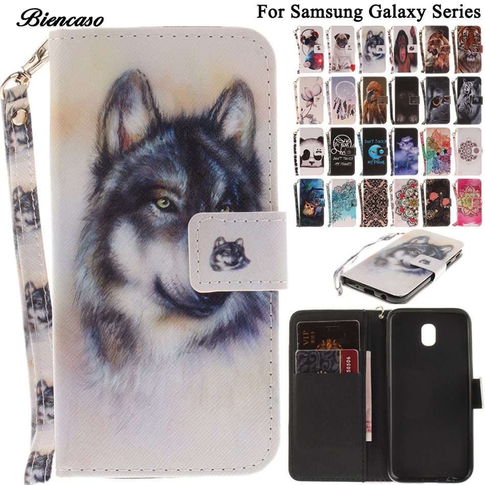 B42 Cute Pet Animals Lion Wolf Owl Leather Phone Case For