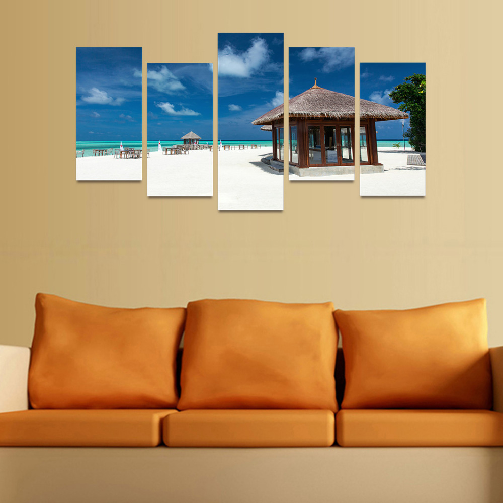 5 Panels Canvas Print Wood House On Beach Painting for Living Room ...