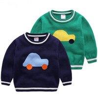 جديد الصبي الطفل سترة الأطفال القطن البلوزات الكرتون تصميم ملابس الاطفال ارتداء البلوزات الأخضر الأزرق سيارة السيارات الأبيض الحافة سترة
