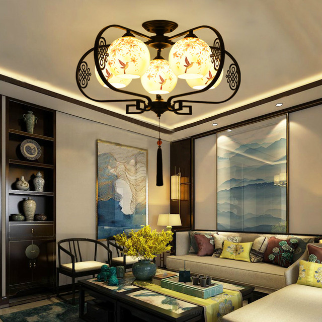 Chinese Style Chinese Painting Beauty Glass Stone Led Ceiling Lights For  Living Room Bedroom Dining Room