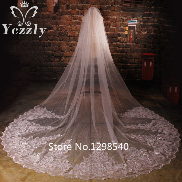 Luxury White/Ivory Long Lace Edge Cathedral Wedding Veils With Crystal Real Applique Bridal Veil With Sequins Voile Mariage WB43