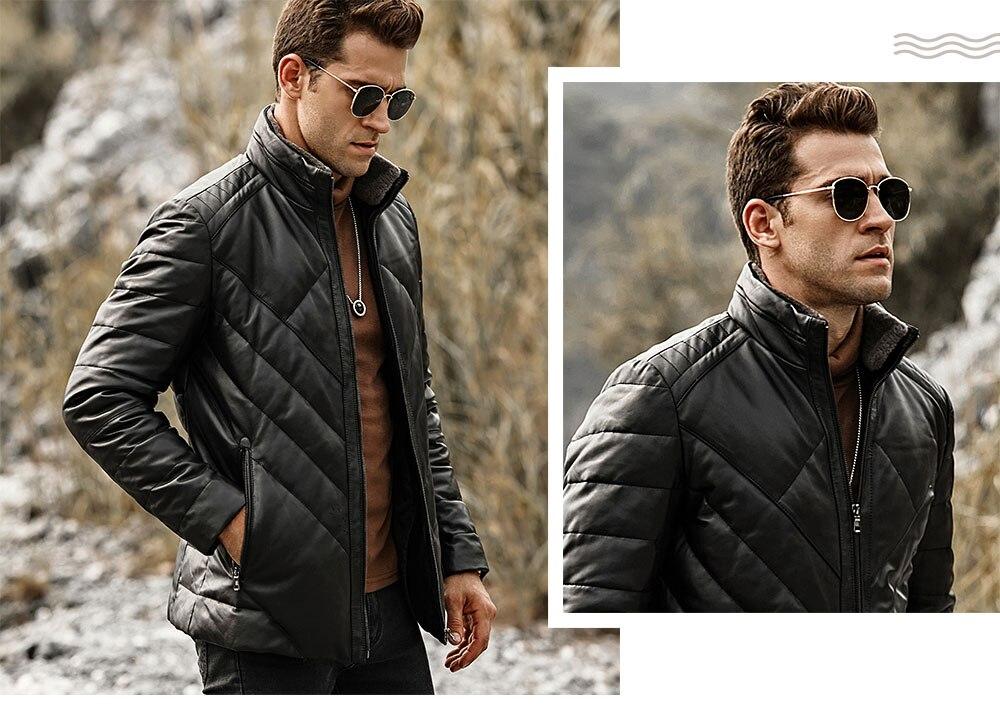 HTB1BpcRlcIrBKNjSZK9q6ygoVXaU FLAVOR Men's Real Leather Down Jacket Men Genuine Lambskin Winter Warm Leather Coat with Removable Standing Sheep Fur Collar