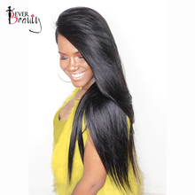 Ever Beauty 250% Density Lace Front Human Hair Wigs Silky Straight Non-remy Hair Natural Black Color Medium Cap Size
