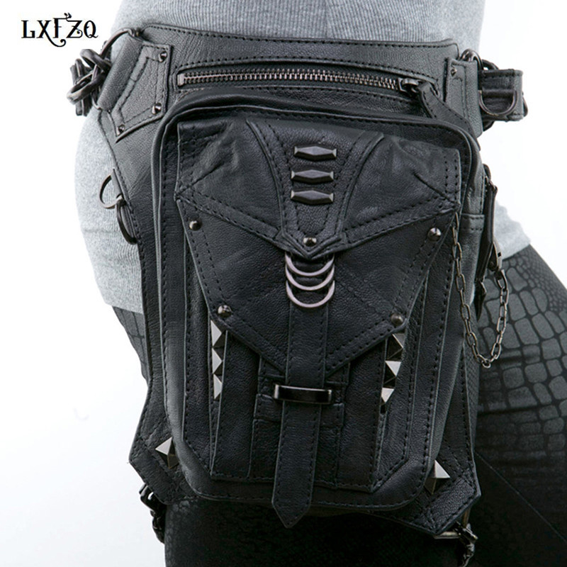 Steampunk bags Thigh Holster Protected Purse Shoulder  Purse leather women bag carteras mujer bag thigh Motor leg Outlaw Pack adjustable quick release plastic tactical puttee thigh leg pistol holster pouch for usp45 black