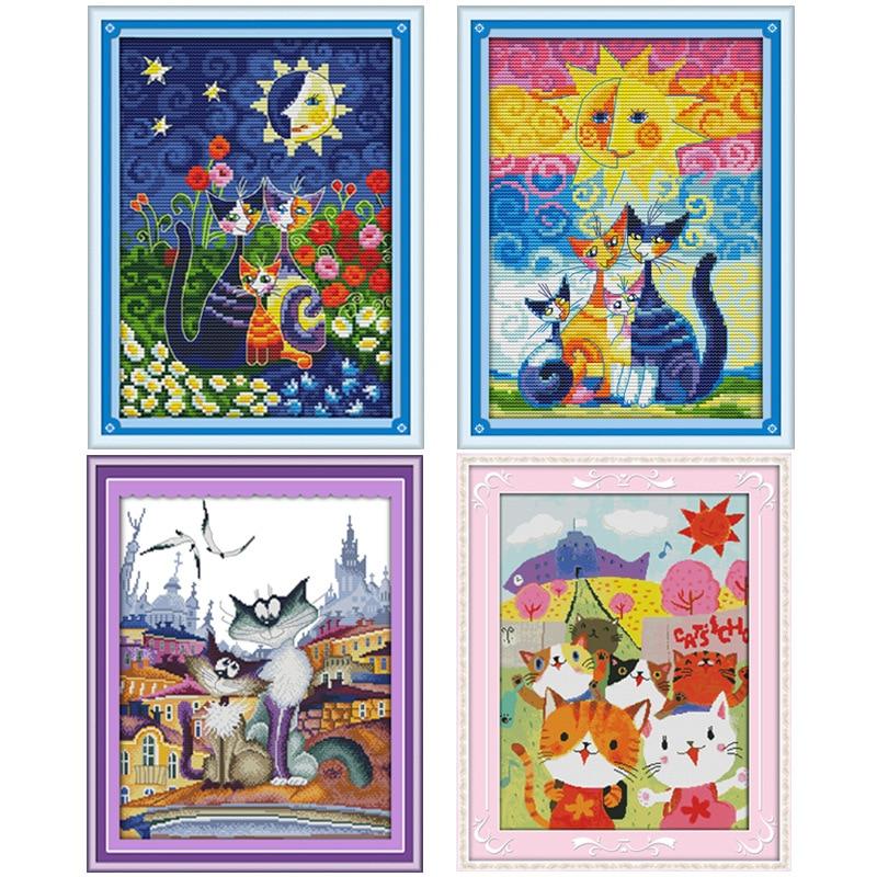 Прекрасные мультипликационные кошки и солнечная красавица кошка DMC Набор для вышивания крестиком с принтом Набор для вышивания крестиком Ручная вышивка для рукоделия