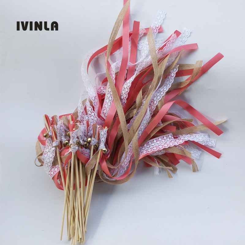 50pcs Lot Coral Red jute wedding wands with white lace for wedding decoration in Banners Streamers Confetti from Home Garden