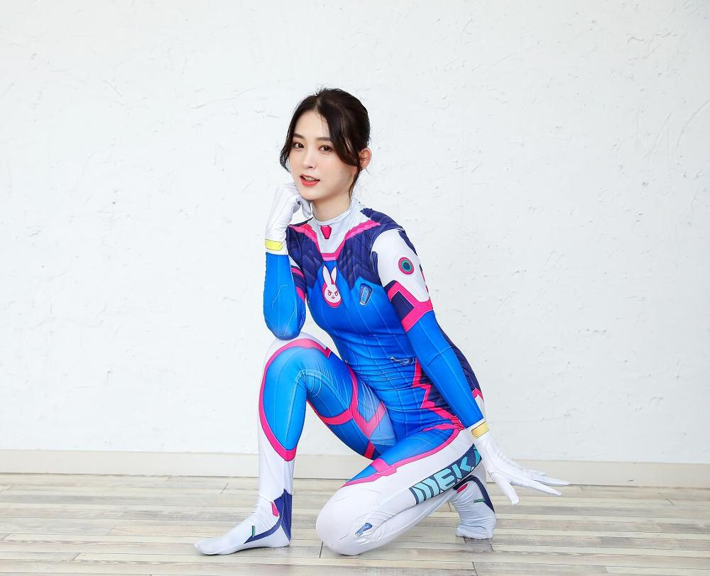 D VA Costume Cosplay Female/Women/Girls/Lady Halloween Cosplay Dva Zentai Catsuit Custom Lycra Spandex Digital Print Bodysuit