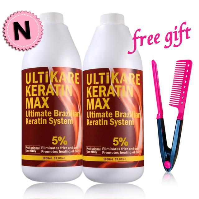 Uitikera 2pcs Straightening Hair Repair and Treat Damage Hair Products Brazilian Keratin Treatment 5% with Free Brush