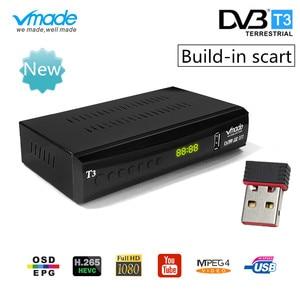 Image 1 - Vmade DVB T2 ТВ приставка с поддержкой youtube H.265 Dobly + USB wifi DVB T3 ТВ тюнер USB 2,0 HD цифровой эфирный ТВ приемник с scart