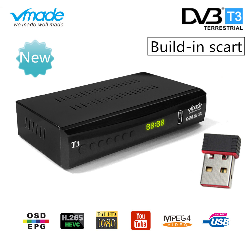 vmade DVB T2 tv box support youtube H.265 Dobly + USB WIFI DVB T3 TV tuner USB 2.0 HD Digital Terrestrial TV Receiver with scart-in Satellite TV Receiver from Consumer Electronics