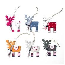 1pc Cute Wooden Elk Christmas Tree Decorations Hanging Pendant Deer Craft Ornament Christmas Decorations