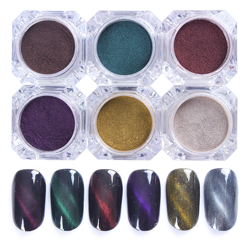 1Box 3D Cat Eyes Magnet Nail Glitter Powder Magic Magnetic Glitter Dust UV Gel Nail Art Pigments Magnet not Include