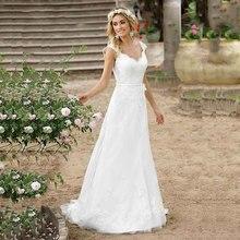 Beach Cheap Boho Wedding Dress Buttons Lace Applique A-line Princess Gown Bridal Gowns Free Shipping Vestidos De Novia
