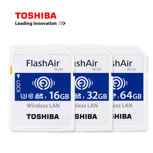 Toshiba Wireless WIFI SD Card 64G 32G 16G W-04 90MB/S High Speed FlashAir SLR Camera Memory Card download photo video to phone