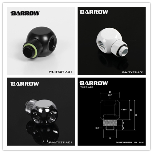 "Barrow White Black silver G1/4 "" X3 3 Way tube rotate Adaptor fittings, split water cooling computer accessories TX3T-A01"