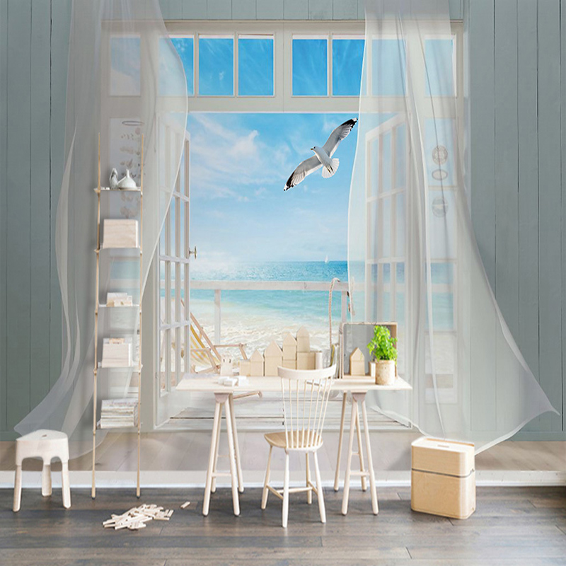 Photo Wallpaper 3D Stereo Window Seaside Landscape Mural Living Room TV Sofa Background Wall Painting Papel De Parede Home Decor