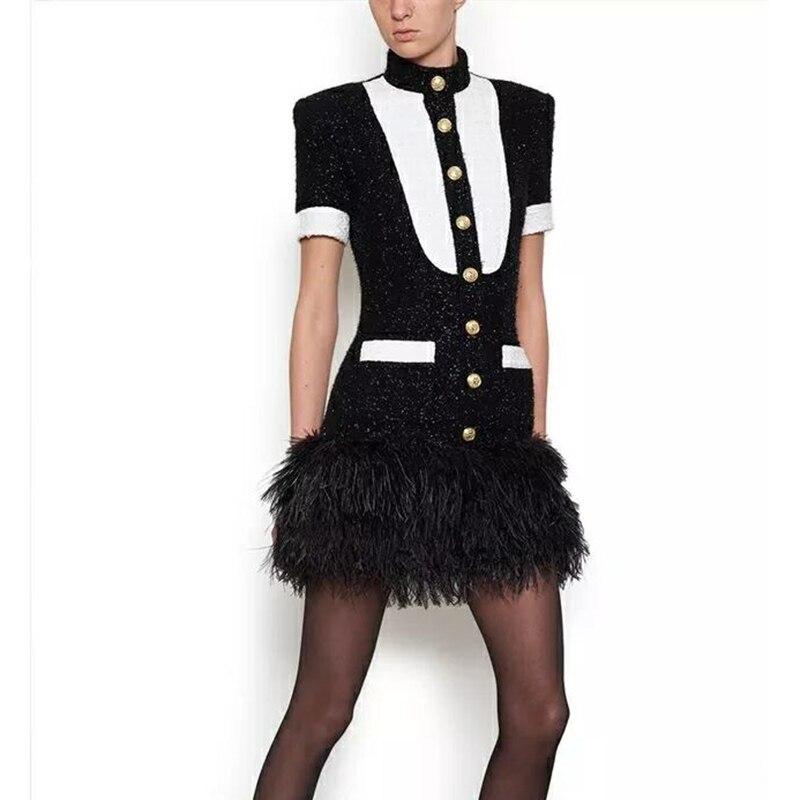 Excellente qualité nouvelle élégante 2018 robe de Designer pour les femmes noir blanc couleur bloc Lion boutons Tweed plume robe