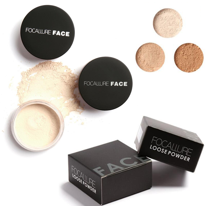 FOCALLURE Brand 3 Colors Smooth Loose Powder Matte Bare Face Makeup Waterproof Makeup Powder Skin Finish Setting With Puff