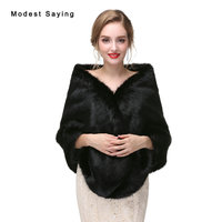 Luxury Black Faux Fur Wedding Shawls 2017 Imitation Fox fur Bridal Wrap Warm Bolero for Evening Dress Winter Wedding Accessories