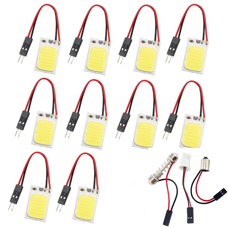 10 pcs <font><b>18</b></font> <font><b>SMD</b></font> COB LED Panel Dome Lamp Car Interior Reading Plate Light Roof Ceiling Interior Wired Lamp BA9S/<font><b>T10</b></font>/Festoon Adapter image