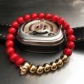 New Design 8MM Red Coral Natural Agate Stone Bracelets Skull Charm Bracelets For Men Jewelry Gift Wholesale Strand Bracelets