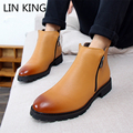 LIN KING British Style Martin Boots High Top Men Shoes Casual Zip Pointed Toe Ankle Boots Square Heels Motorcycle Rain Boots