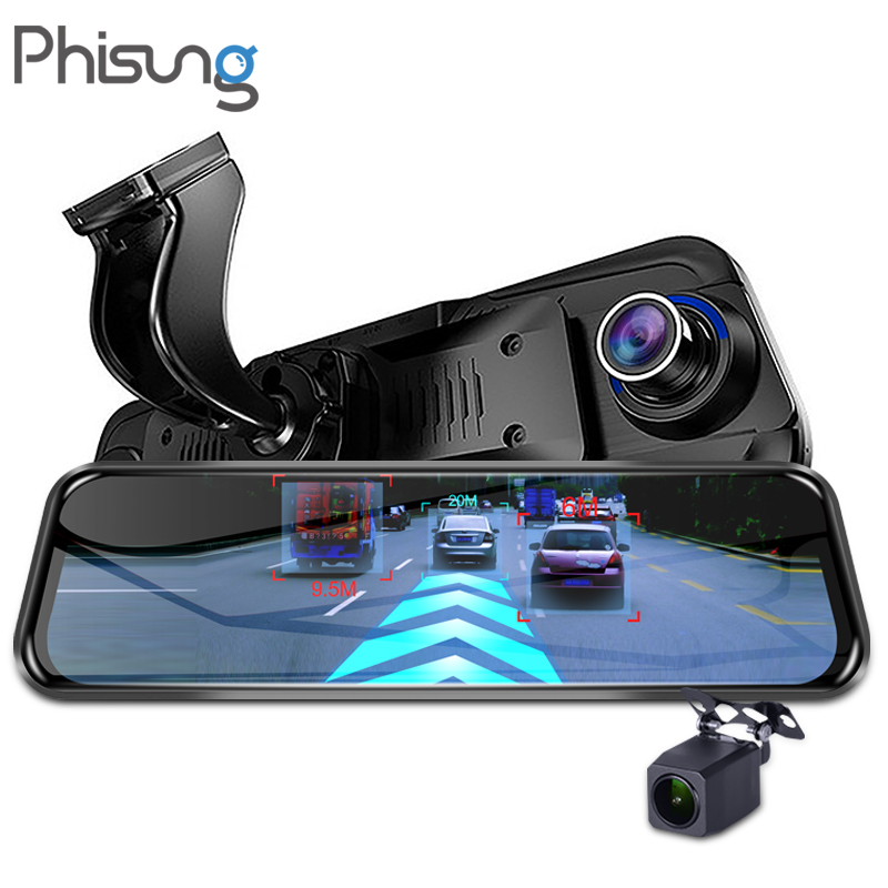 Phisung 4G Streaming Android Car DVR Special 10 Touch rearview mirror FHD 1080P Dual dash camera