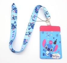 High Quality one cartoon Lilo Stitch Lanyard ID Badge Holder Key Neck Strap Card Bus ID Holders key chain gift #52905(China)