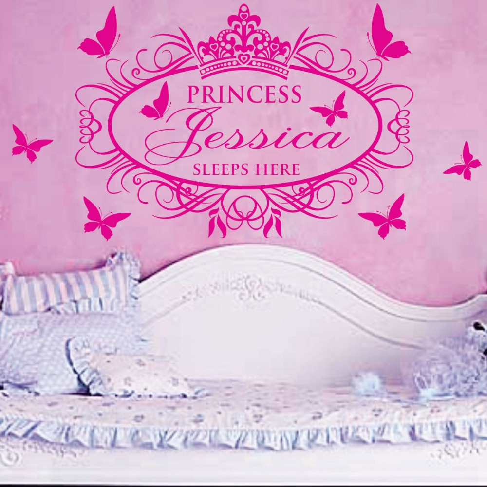 Sell like hot cakes custom sleeps here with his kid princess girl sell like hot cakes custom sleeps here with his kid princess girl custom name vinyl wall sticker decor you choose name and color in wall stickers from home amipublicfo Image collections