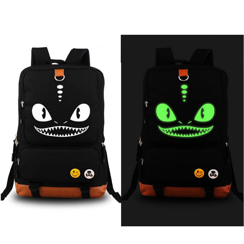 How to Train Your Dragon Luminous Backpack Glow in Dark Zipper Mouth Big Eyes Shoulder Backpack Anime Messenger School BagHow to Train Your Dragon Luminous Backpack Glow in Dark Zipper Mouth Big Eyes Shoulder Backpack Anime Messenger School Bag