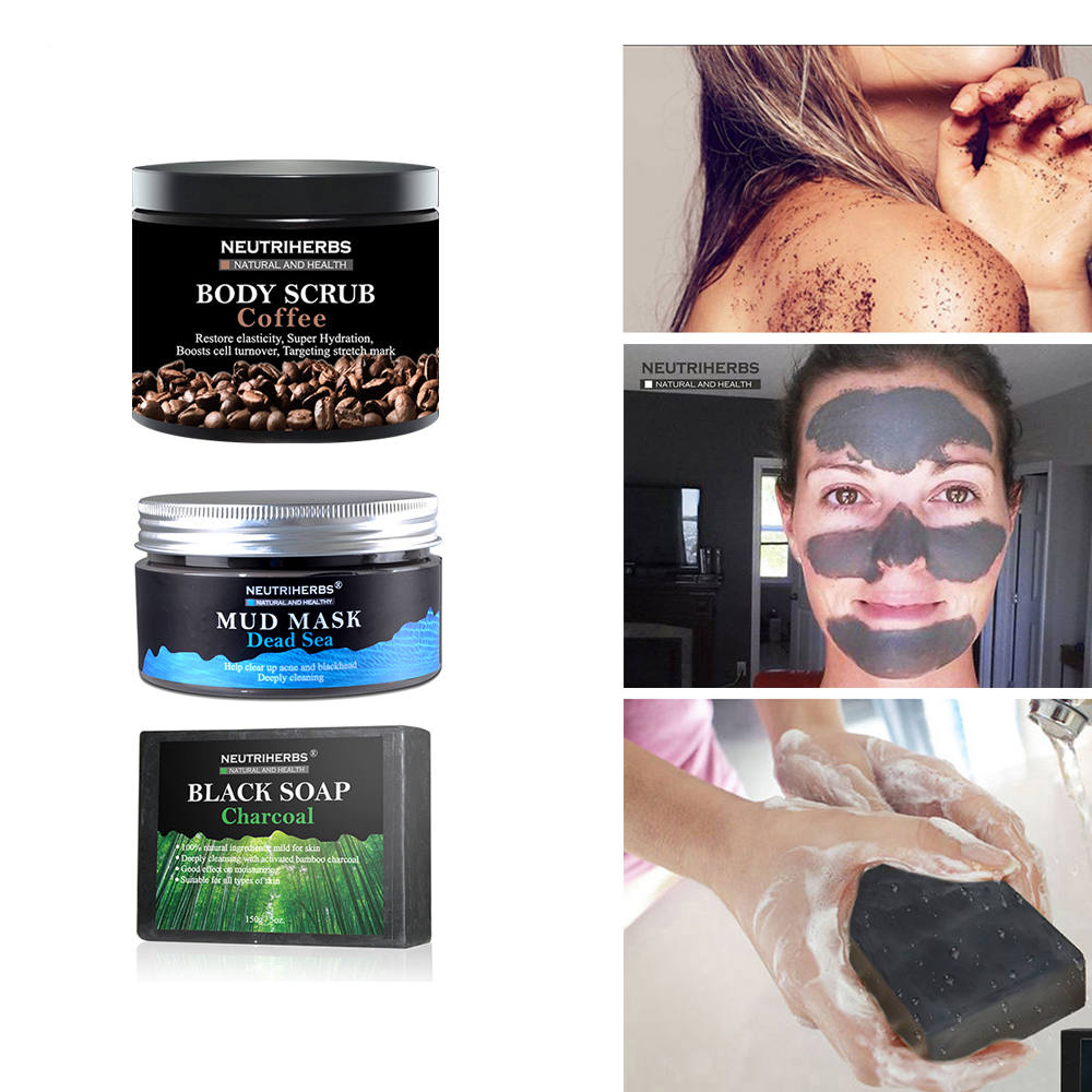 Coconut Coffee Body Scrub Cream Whitening Charcoal Handmade Soap Dead Sea Mud Face Black Blackhead Remover 3 in 1 Set the saem touch on body coconut body lotion